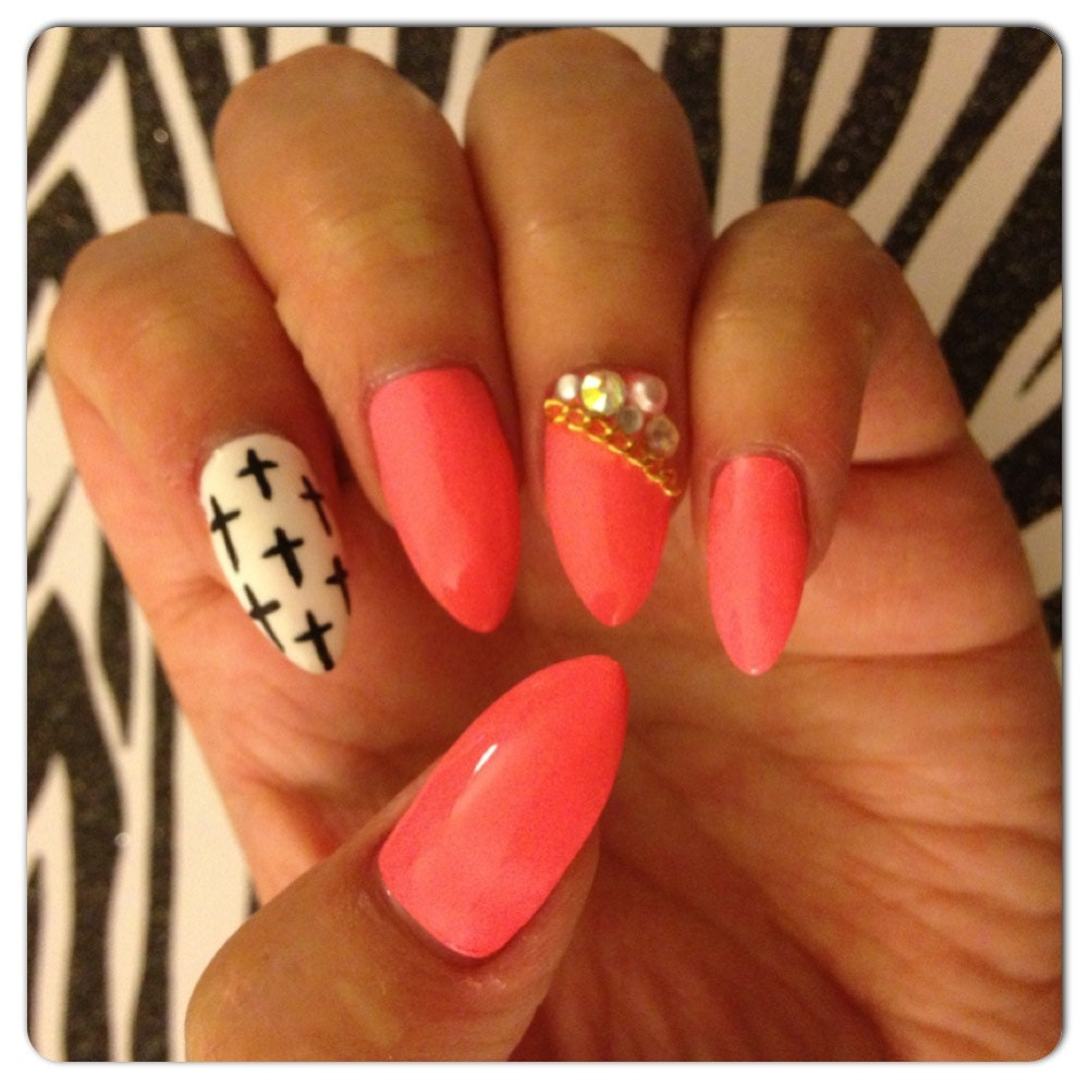 Pink With Black And White Cross Design Stiletto Press-On Nails