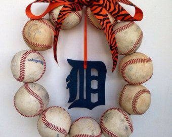 Detroit Tigers Baseball Wreath