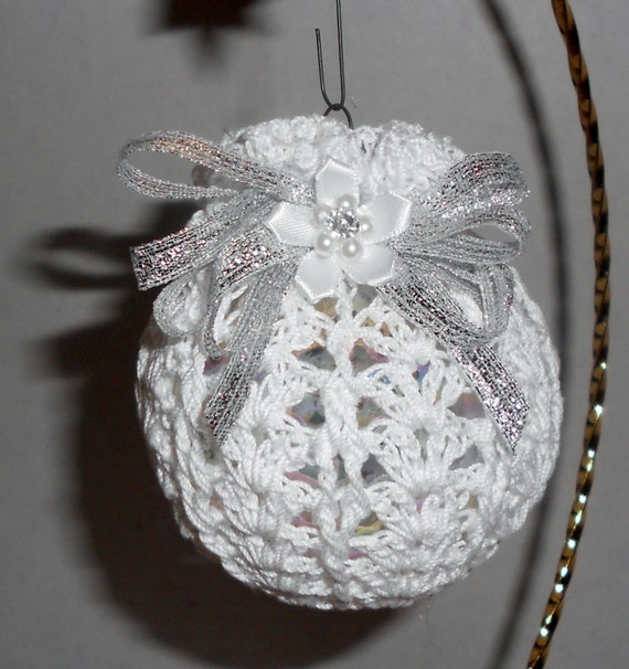 White Silver Ornament Silvers: Victorian Crochet Christmas Ornament White And Silver