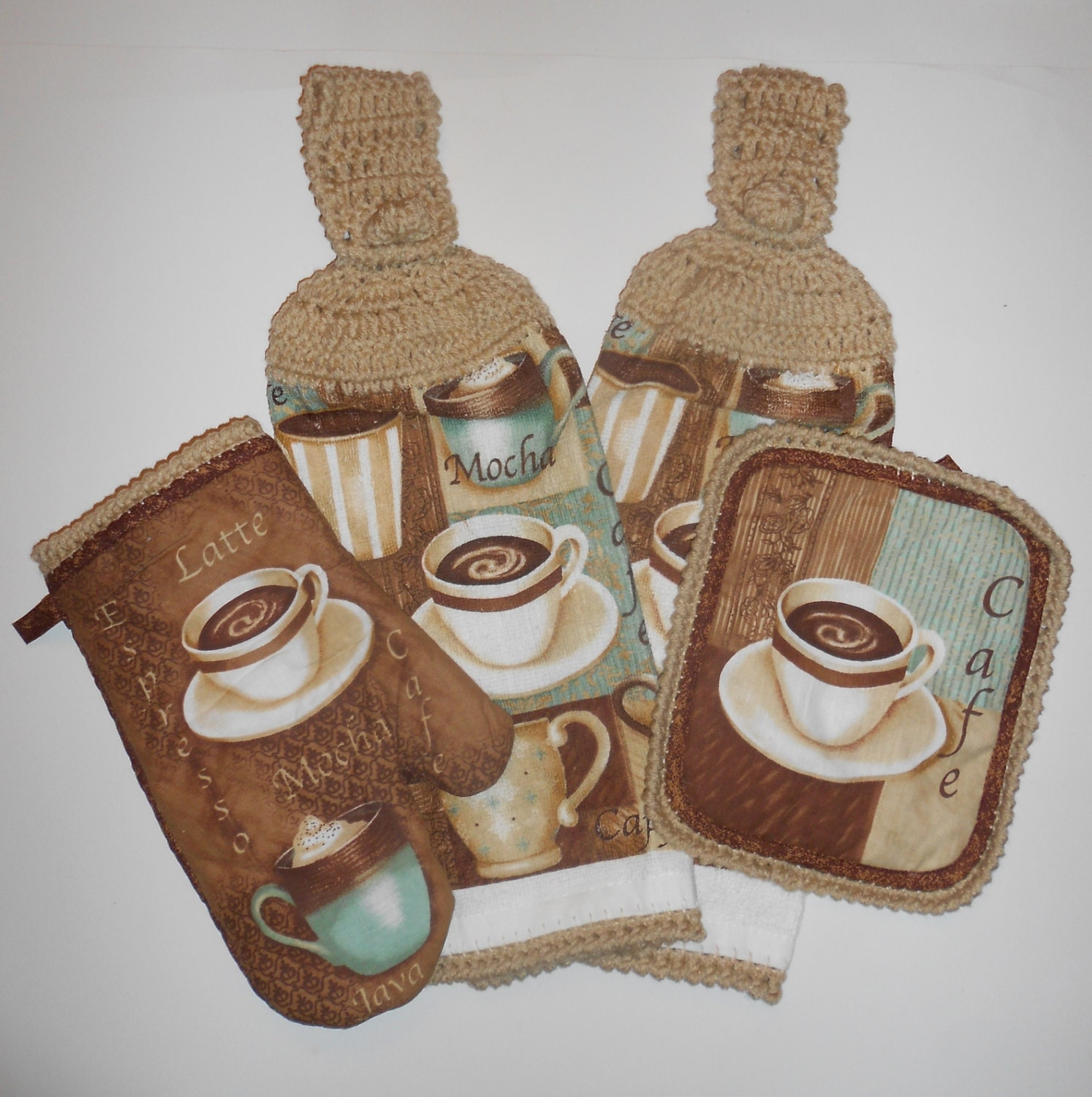 Coffee Espresso Latte Cafe Ivory Brown Kitchen Curtains: Hanging Kitchen Towels Pot Holder Oven Mitt Crochet Cafe