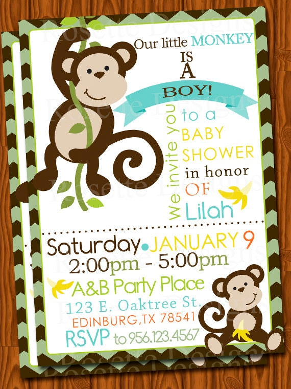monkey baby shower invitation chevron pattern bananas new design
