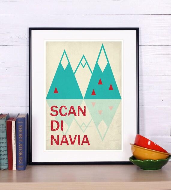 Retro print, poster, Scandinavia, discover Scandinavia, Scandinavian landscape, vintage poster, print, Nordic retro wall decor,