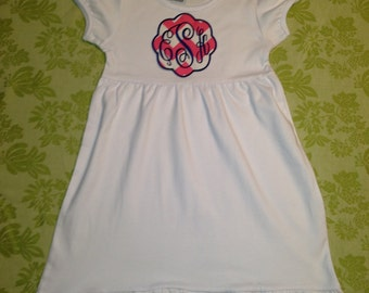 Puff Sleeve Empire Waist Dress with choice of Monogram Appliqué Patch