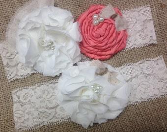 Coral garter, garter set, wedding garter, rustic garter, garter, ivory garter, coral wedding