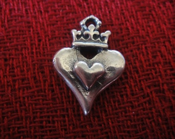 925 sterling silver  oxidized crown heart charm 1 pc.