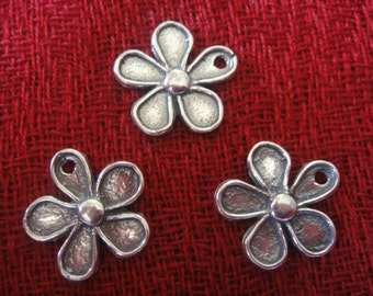925 sterling silver oxidized flower charm, pendant 1 pc.