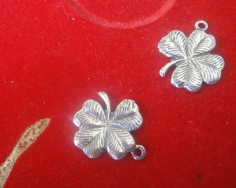 2pc. 925 sterling silver oxidized Lucky Clover Charm - sterling silver flower, irish four leaf clover shamrock charm, flower charm, flower
