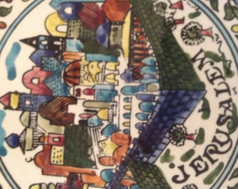 "Vintage Jerusalem Souvenir Decorator Plate Ceramic-Brightly Colored-8 1/4"" Diameter"
