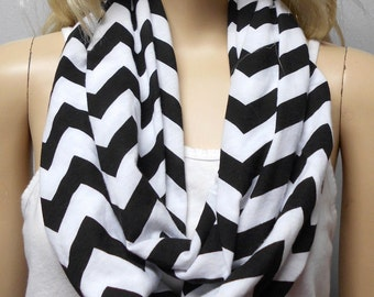 Black  & White Chevron Print  Infinity Scarf   Jersey Knit Gift Ideas