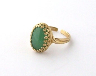 Gorgeous Green Aventurine Gemstone Adjustable Ring