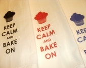 Set of 3 Keep Calm and Bake On Kitchen Towels, Tea Towel, Flour Sack Design 038 - LoveYouALatteShop