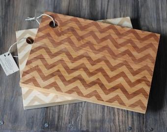 "11"" x 8.5"" Wood Cutting Board - Modern Chevron Pattern"
