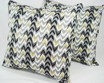 CLEARANCE - One Decorative Throw Pillow Cover Grey Black Brown and White - 18 x 18 inches Couch Pillow Cushion Cover Accent Pillow