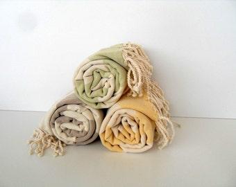 Set of 3 Turkish Towel, Peshtemal, Beach Towel, Turkish Bath Towel, Hammam Towel, Green, Yellow, Light Brown