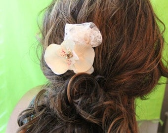 """blush colored orchid with blush lace detail a chocolate crystal and off white pearls, hair clip """"Madeline"""""""