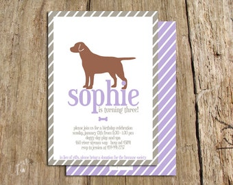 Printable Girl Dog Birthday Party Invitation customize with your  dog's breed and colors. Shown here with lab.