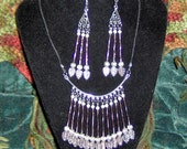 Lavender Necklace and Earrings Set / Handmade