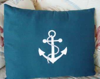 Embroidered NAUTICAL ANCHOR PILLOW