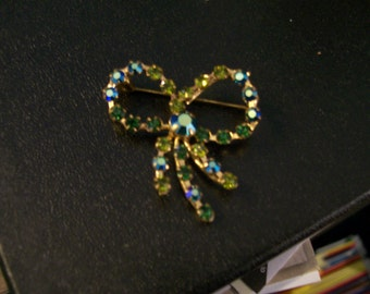 One of kind-Capri Blue and Green Vinage Fancy Made in Austria Colored Rhinestone Pin/Brooch