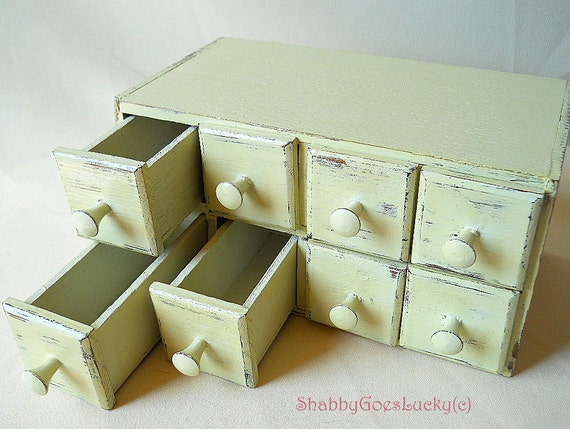Vintage wooden drawer chest box with 8 small drawers, upcycled hand ...