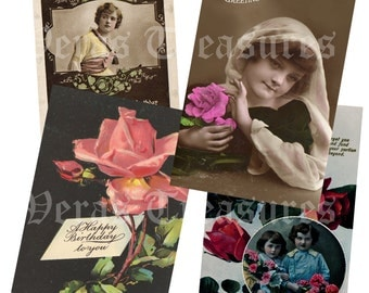 Vintage Style Birthday Postcards Digital Images for card making or Crafts (pack 4)