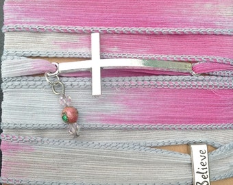 Silk Wrap Bracelet with Skinny Sideways Cross & Believe Charm (Silver)