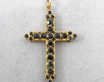 Outstanding Sapphire Inlay, Fine Filigree Cross Pendant, Three Dimensional Box Style LJPZJK-D