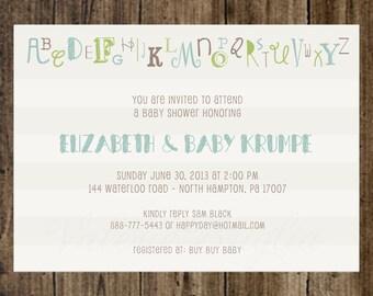 Alphabet stripe Baby Shower Invitation, printable file