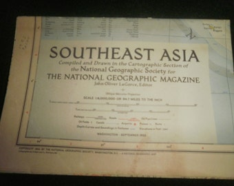1955 Southeast Asia Map from National Geographic Magazine