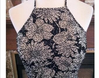 Vintage Je Matadi by Sean Mehta Halter Beaded Evening Gown Cutaway Petal Design Hem Gorgeous Formal Valentines Evening Gown