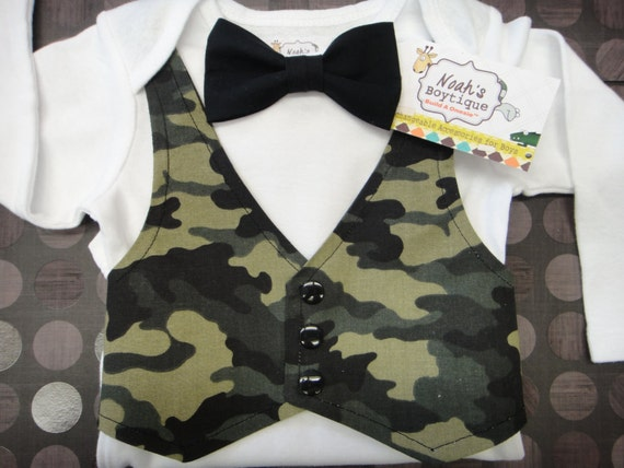 Baby boy camouflage vest and bow tie outfit by noahsboytiques for Baby shirt and bow tie