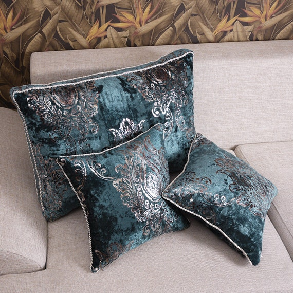 Blue Velvet Decorative Pillow : Damask Blue Velvet Throw Pillow Cushion Cover by craftfabric030