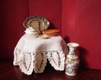 Dollhouse Housewares Tray Candlestick Bowls Vase