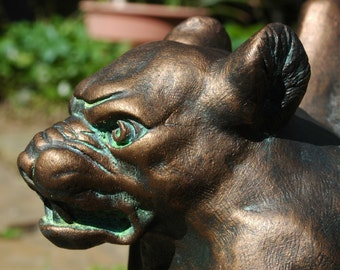 Bronze Aged In Patina Roof Mounting Gargoyle Statue For Your Home And Garden