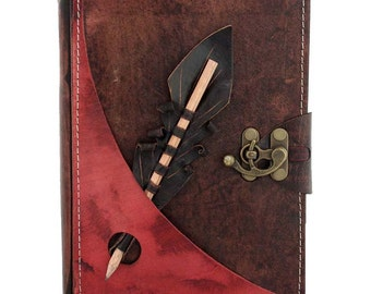 Pencil Holding Section On A Large Leather Journal / Notebook / Diary / Sketchbook / Leatherbound