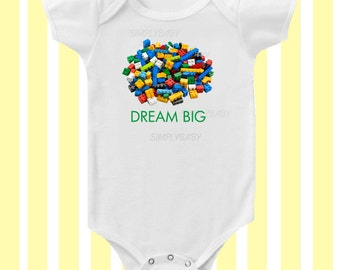 Dream Big Lego Baby Bodysuit  by Simply Baby
