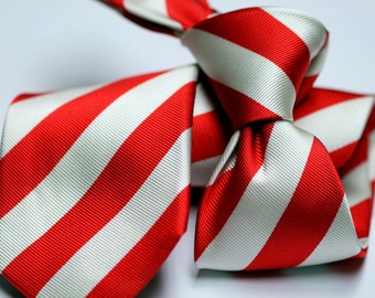 Silk Tie (3inch) in Stripes in Candy Cane with Red and White