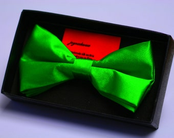 Bright Green Silk Bow Tie with Gift Box