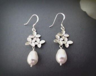 Cherry Blossom Flower and Pearl 925 STERLING SILVER Earrings--Bridesmaid Earrings-Perfect Gift for mom for friends Birthday Present for her