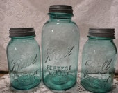 Antique Vintage Blue Ball Perfect Mason Canning Jars 1 1/2 gallon jar  and  2  Quart fruit  Jars   Wedding   Sale - vintagepurveier