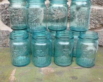 Blue MASON jar blue Ball  perfect  Pint Canning Jar Wedding centerpiece  6 jars