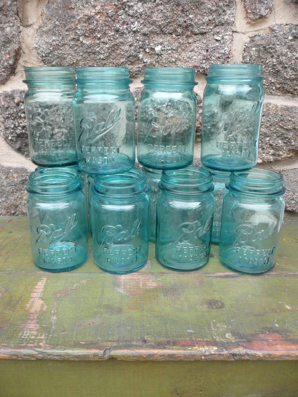 Blue ball mason pint canning jar wedding by vintagepurveier