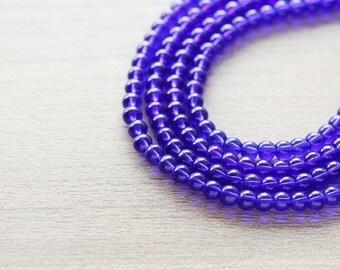 Glass Beads - 200 pcs of Blue Round Beads - 4mm