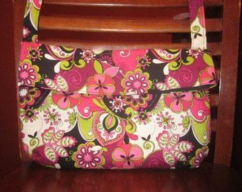 HIPSTER BAG - MEDIUM Black Pink Green Floral