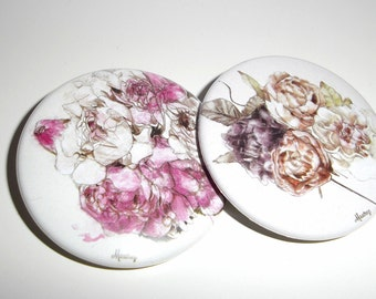 Broche illustration de fleurs Lot de 2