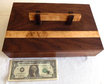 Walnut Wooden Box with Curly Maple Inlay, Jewelry Box, Wooden Box, Birthday Gift