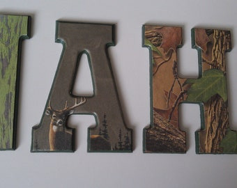 Hunting Camo Letters-Buck Letters with Name-Decorative Wall Letters
