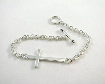 Sterling Silver Small Side Cross Bracelet