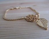 Gold Leaf and Rose Chain Bracelet