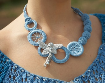 Chic blue dragonfly crochet necklace -Great style handmade crochet accessory-Original modern necklace-Accessory for extraordinar woman
